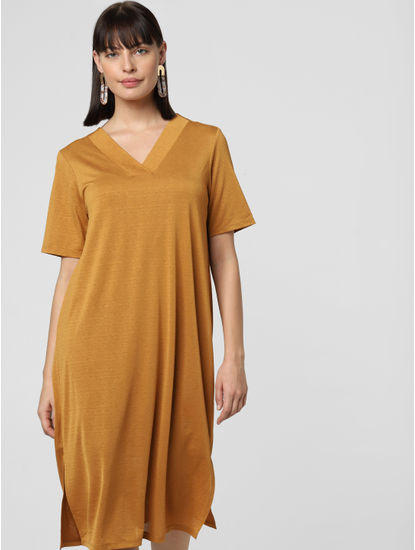 Brown Midi Shift Dress