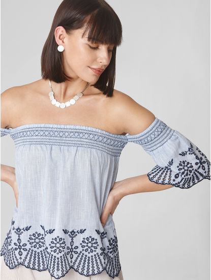Blue Embroidered Off-Shoulder Top