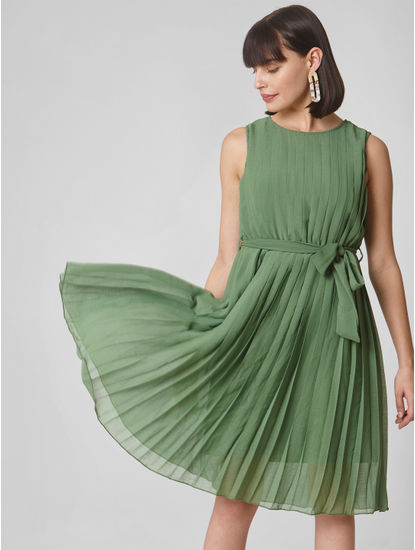 Green Pleated Shift Dress