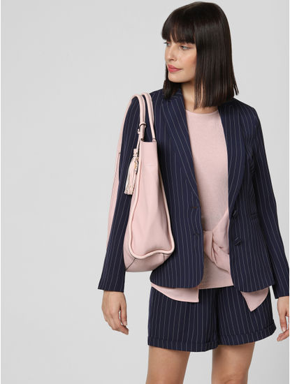 Navy Blue Striped Blazer