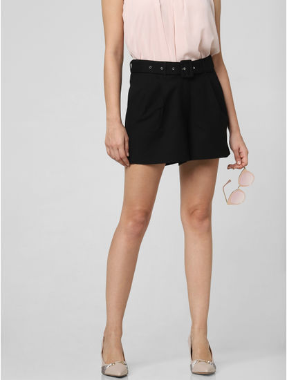 Black High Rise Belted Shorts