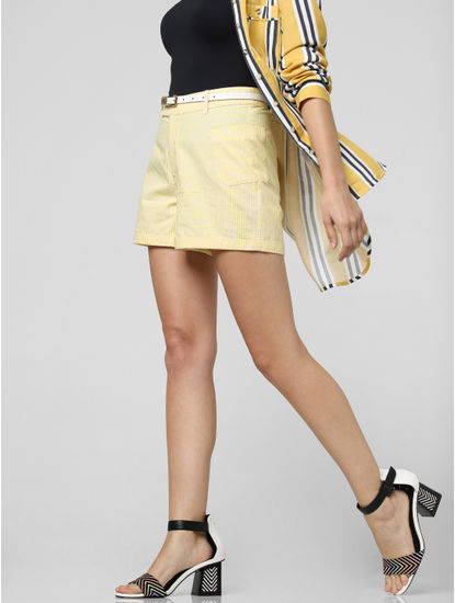 Yellow High Rise Shorts