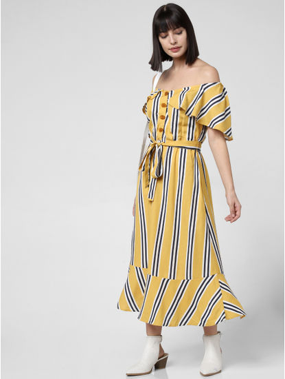 Yellow Striped Off-Shoulder Dress