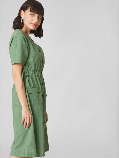 Green Striped Shift Dress