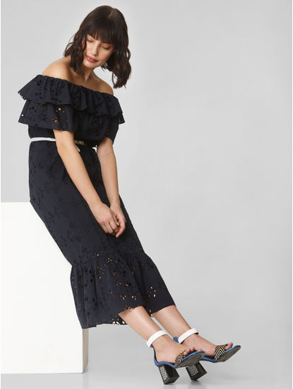 Navy Blue Lace Off-Shoulder Dress