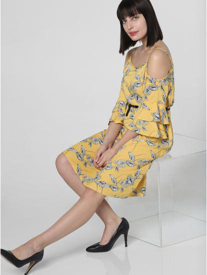 Yellow Floral Cold-Shoulder Dress