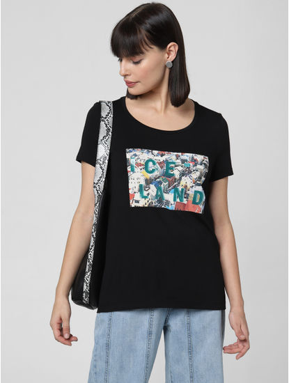 Black Graphic Print T-shirt