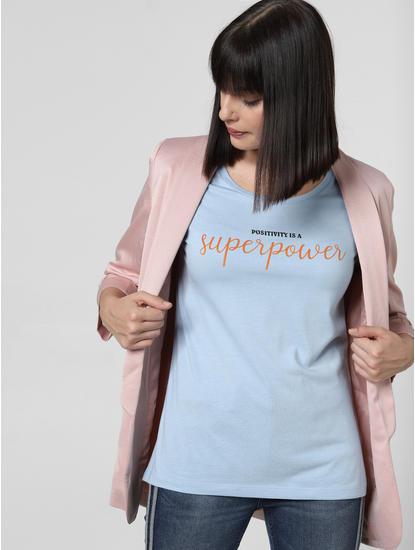 Blue Slogan Print T-shirt
