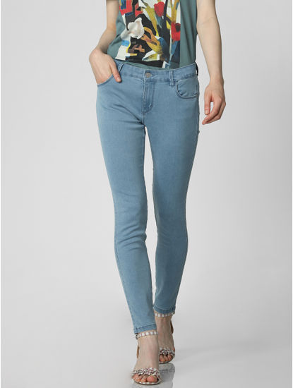 Blue Mid Rise Ankle Length Skinny Fit Jeggings
