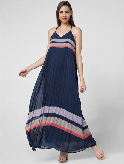 Navy Blue Pleated Maxi Dress