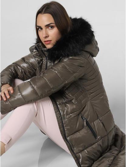 Grey Fur Hood Puffer Jacket
