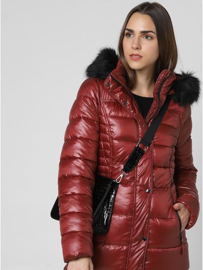Brown Fur Hood Puffer Jacket