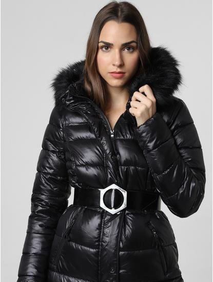Black Fur Hood Puffer Jacket