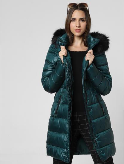 Green Fur Hood Puffer Jacket