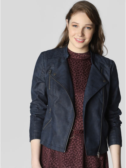 Navy Blue Biker Jacket