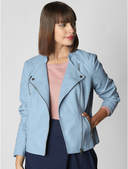 Blue Pu Biker Jacket