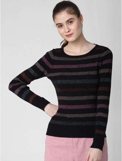 Black Shimmer Striped Pullover
