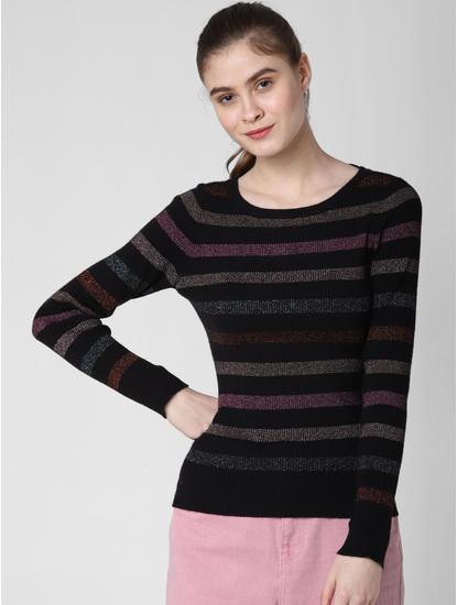 Black Shimmer Striped Pullover