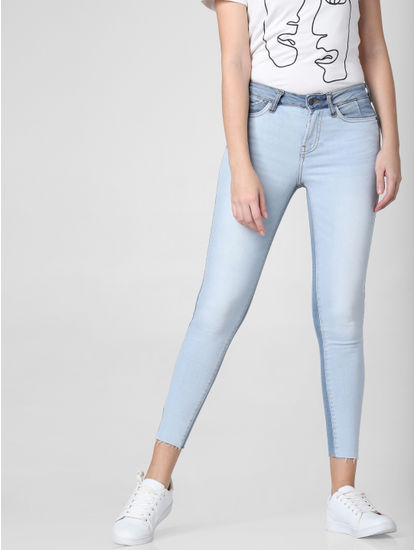 Blue Mid Rise Two-Toned Skinny Jeans