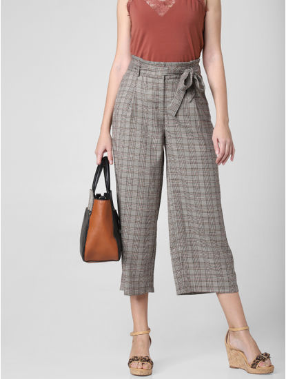 Grey Check Paperbag Waist Culottes