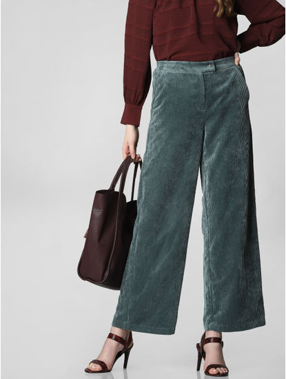 Blue High Rise Corduroy Pants