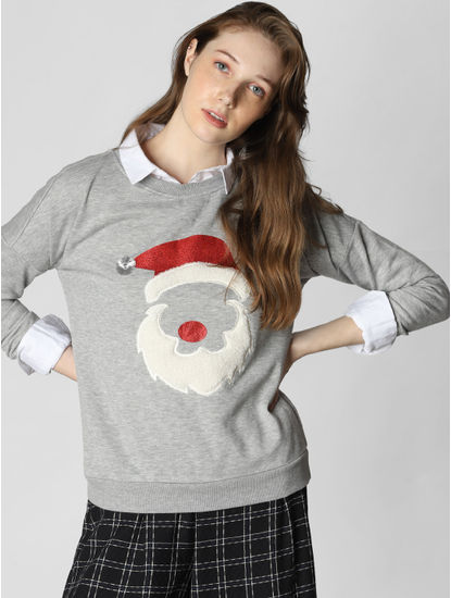 Grey Santa Claus Graphic Print Sweatshirt