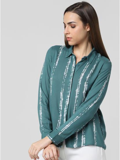 Green Tie & Dye Print Shirt