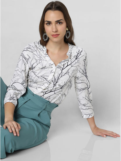 White All Over Print Asymmetric Top