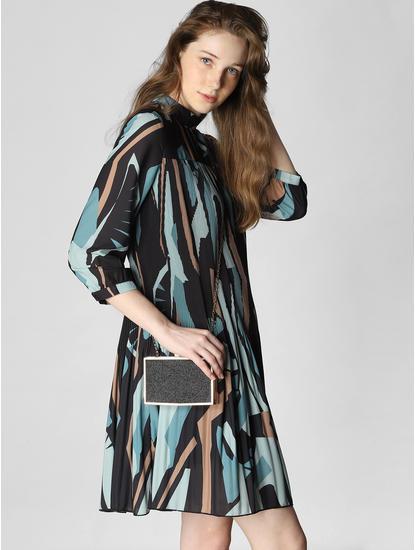 Blue Colourblocked Pleated Shift Dress