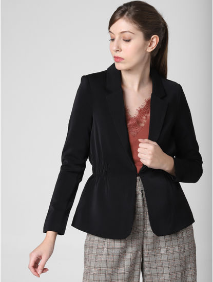 Black Single Hook Formal Blazer