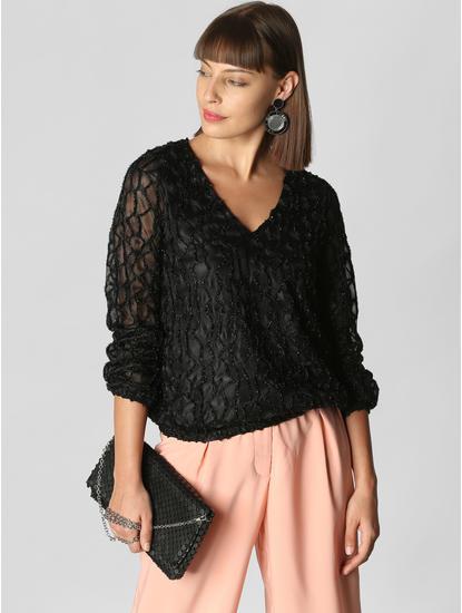 Black Textured Shimmer Top
