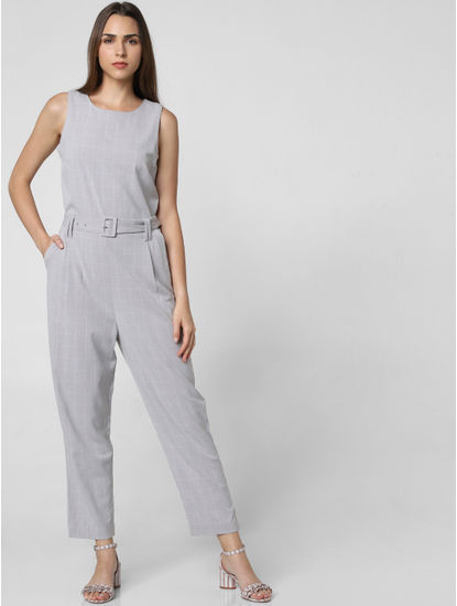 Grey Check Belted Jumpsuit