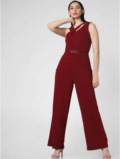 Red Belted Cut-Out Collar Jumpsuit