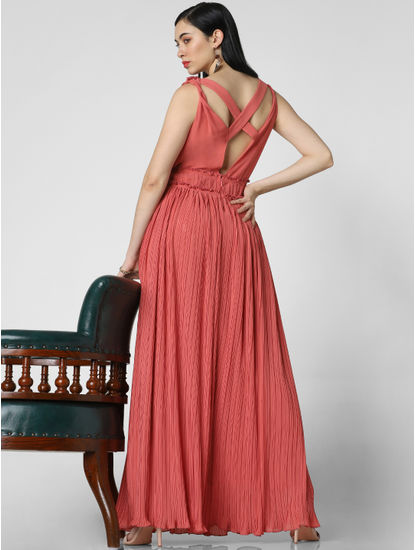 Peach Pleated Maxi Dress