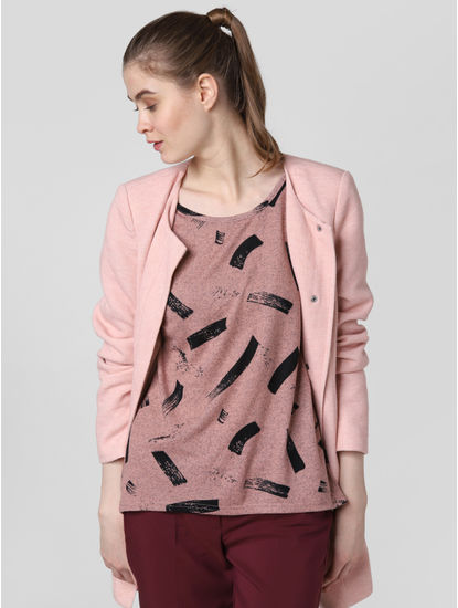Pink All Over Print Asymmetric Top