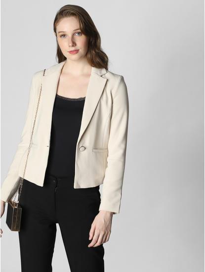 Off-White Single Button Formal Blazer