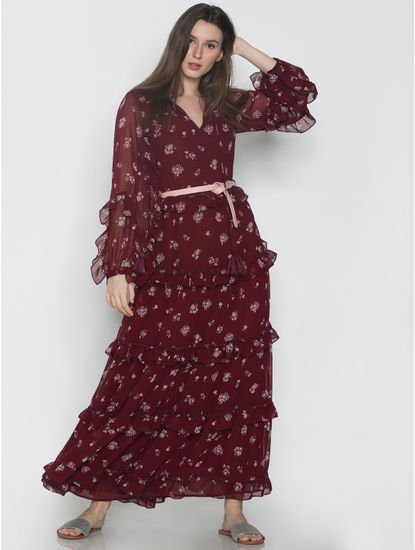 Burgundy Floral Print Frill Maxi Dress
