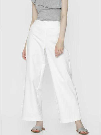 White High Rise Wide Leg Pants