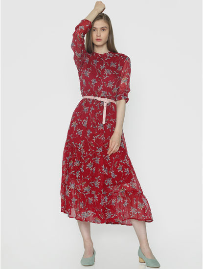 Red Floral Print Tiered Midi Dress