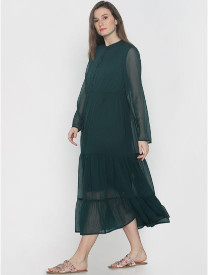 Dark Green Tiered Midi Dress