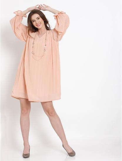 Peach Pleated Shift Dress