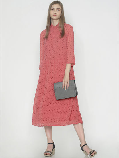 Peach Polka Dot Print Midi Dress