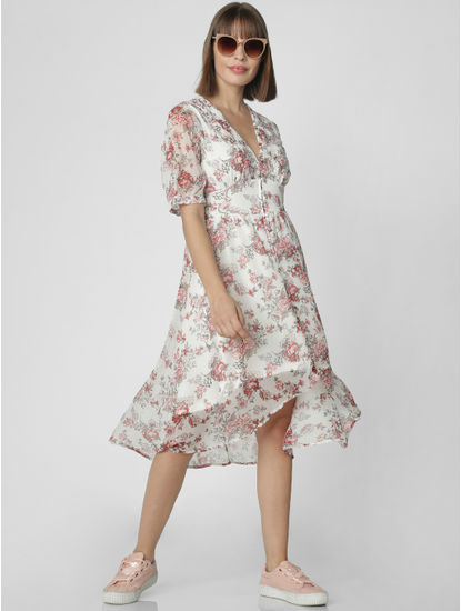 White Floral Print Fit & Flare Dress