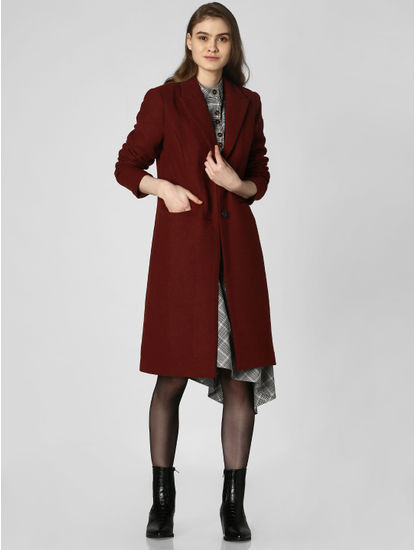 Brick Red Button Down Coat