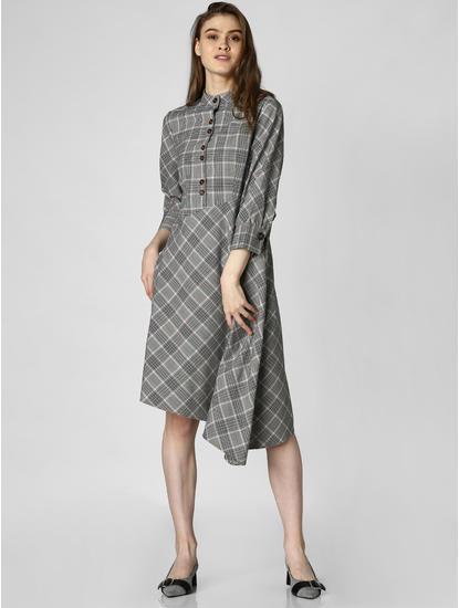 Grey Check Asymmetric Midi Dress