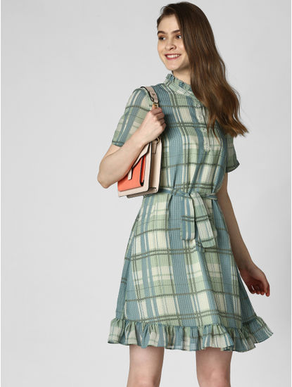Green Check Belted Fit & Flare Dress