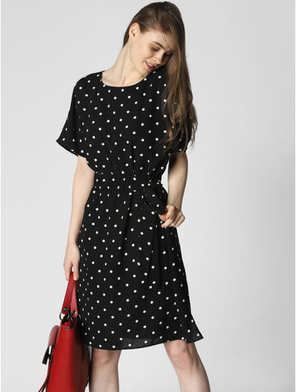 Black Polka Dot Print Fit & Flare Dress