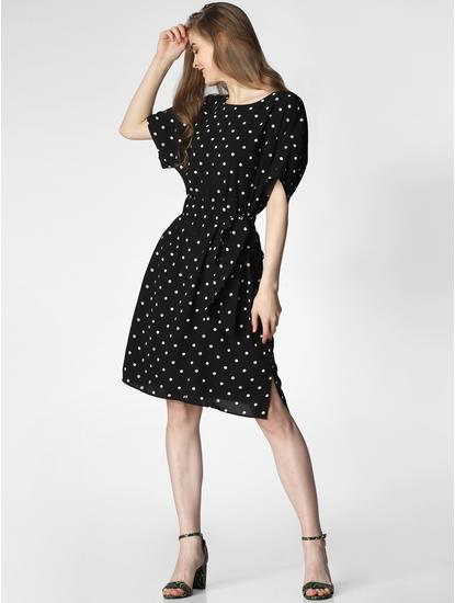 Black Polka Dot Print Fit & Flare Dress