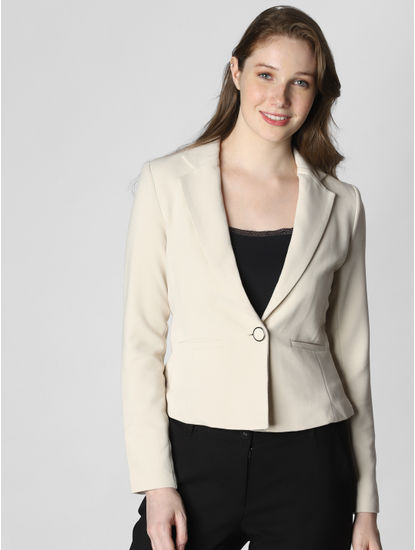 Beige Single Button Formal Blazer