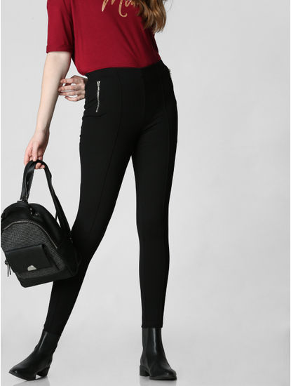 Black Mid Rise Zip Detail Skinny Leggings